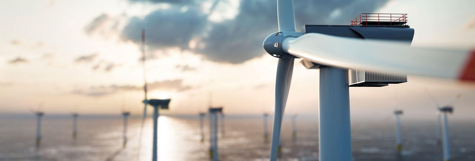 Wind turbines in the sea banner image